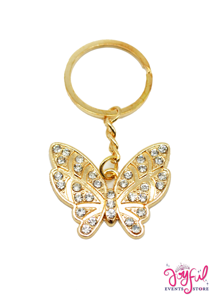 Gold Butterfly Keychain with Rhinestones - One #PF79GD