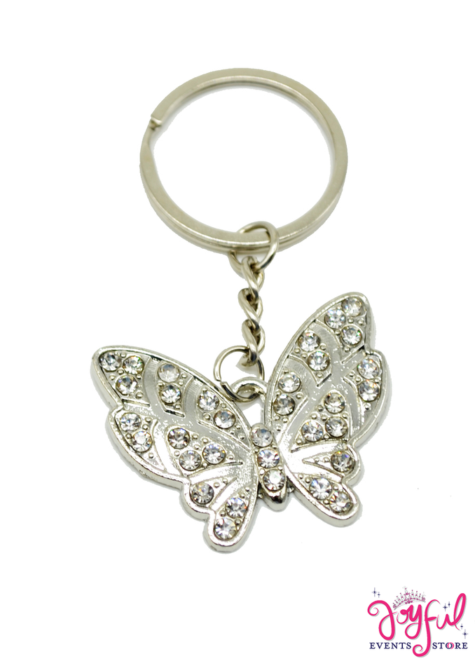 Silver Butterfly Keychain with Rhinestones - One #PF79SV