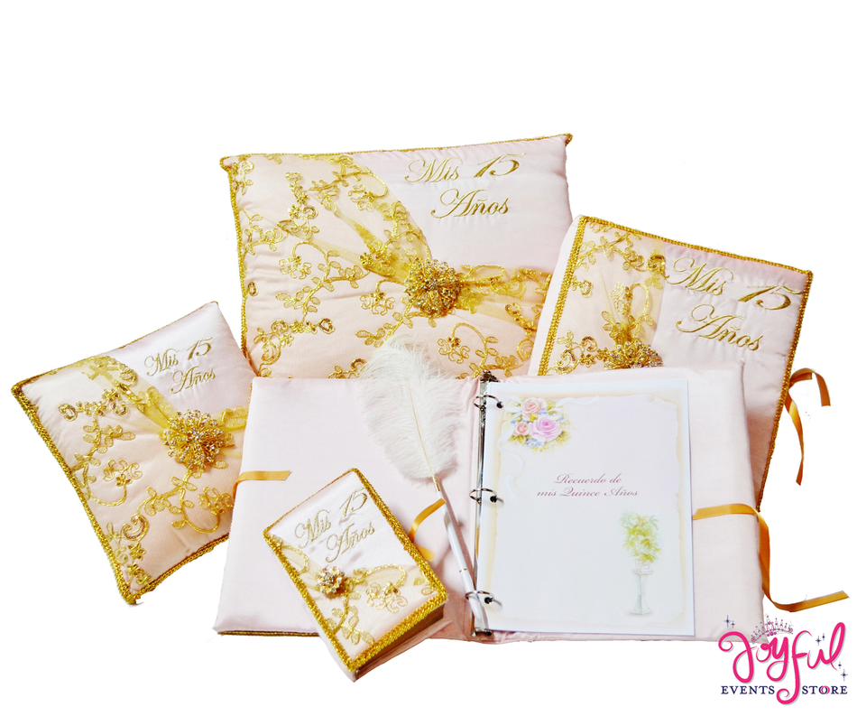 Quinceanera Accessories with Pillows, Photo Album, Guest Book and Bible #QSET170
