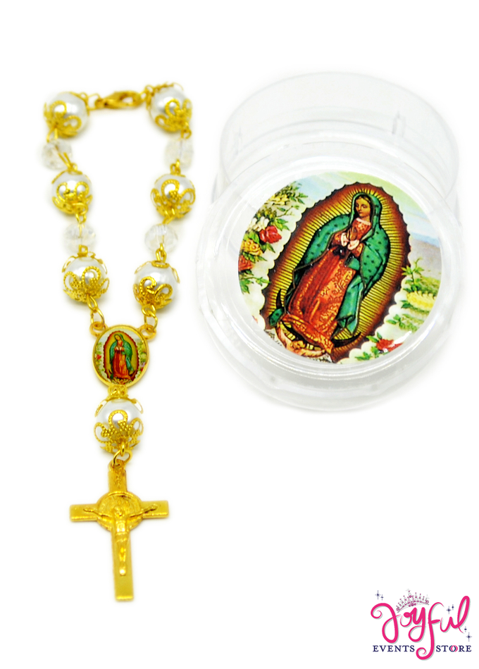 "6"" Virgen de Guadalupe Mini Bracelet Rosaries with Ivory Pearl Beads - 12 Pieces #ROS12"