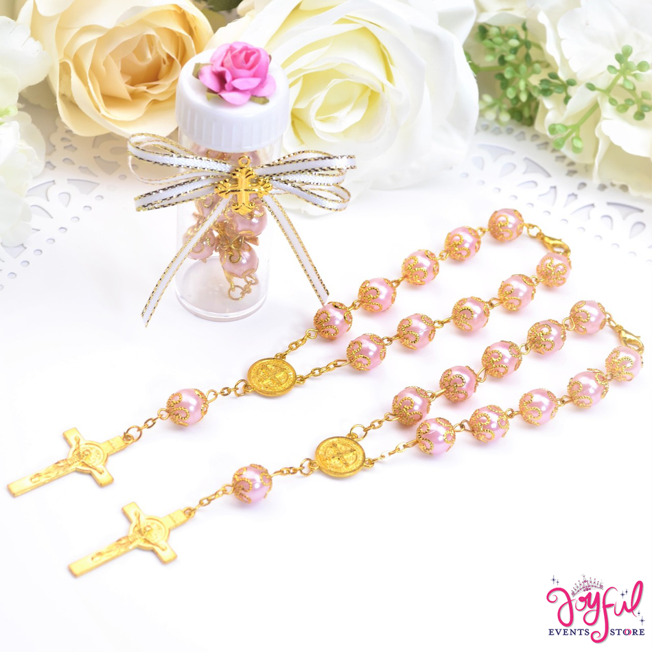 "6"" Pink St. Benedict Mini Bracelet Rosary Party favors for Quinceaneras / Baptisms / Weddings  - One Dozen #PF1001PK"