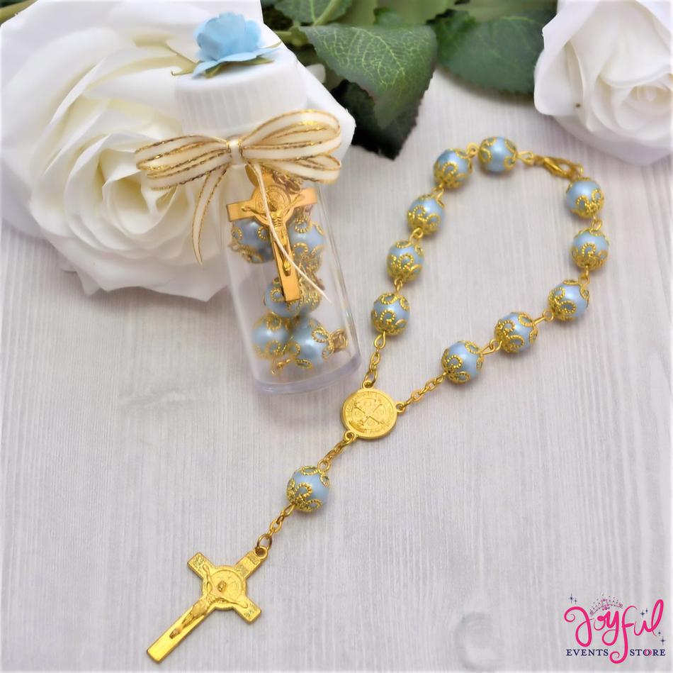 "12 Pieces 6"" Blue St. Benedict Mini Bracelet Rosary Party favors for Baptisms / Quinceaneras / Weddings - #PF1001BL"