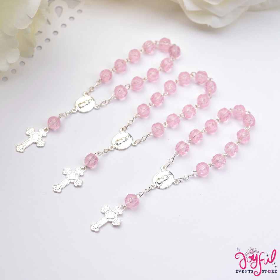"4"" Mini Decade Finger Rosary Favors for Baptism / Quinceaneras / Weddings - One Dozen #PF1005PK"