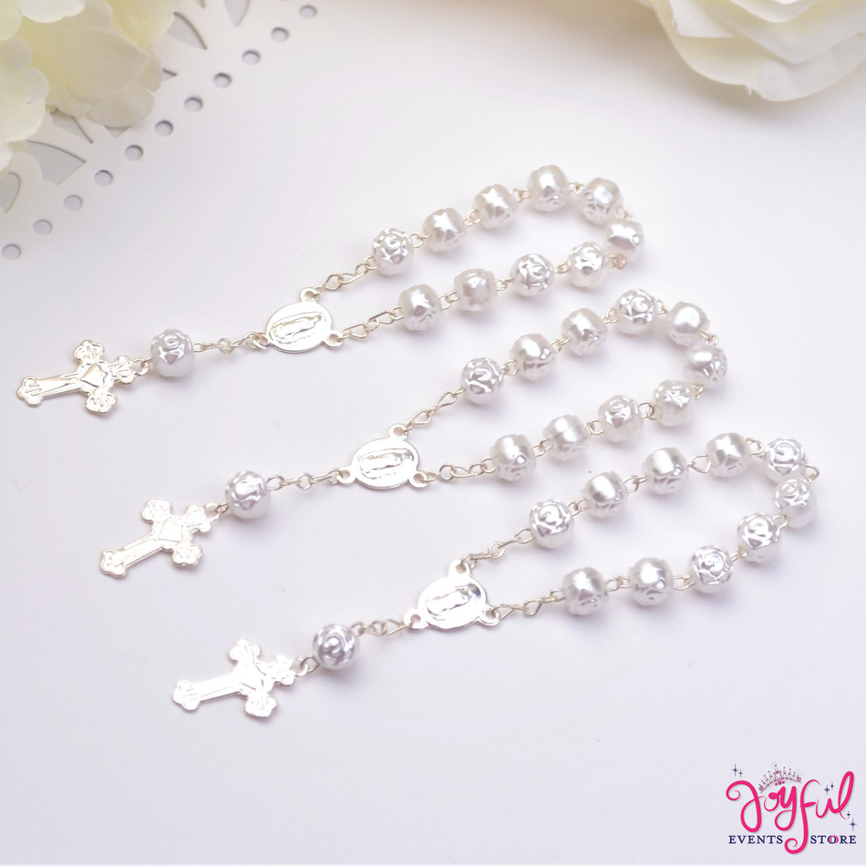 """4"""" Mini Decade Finger Rosary Favors for Baptism / Quinceaneras / Weddings - One Dozen #PF1005WH"""
