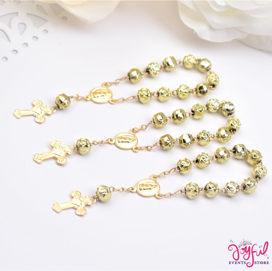 """4"""" Mini Decade Finger Rosary Favors for Baptism / Quinceaneras / Weddings - One Dozen #PF1005GD"""