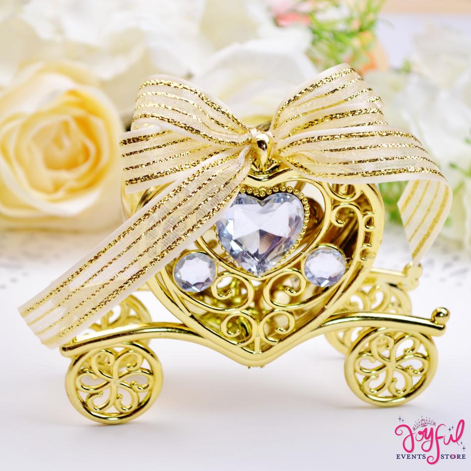 """4.5"""" x 3.5"""" Cinderella Carriage Party Gift Favor Box - One Dozen #1024GD"""