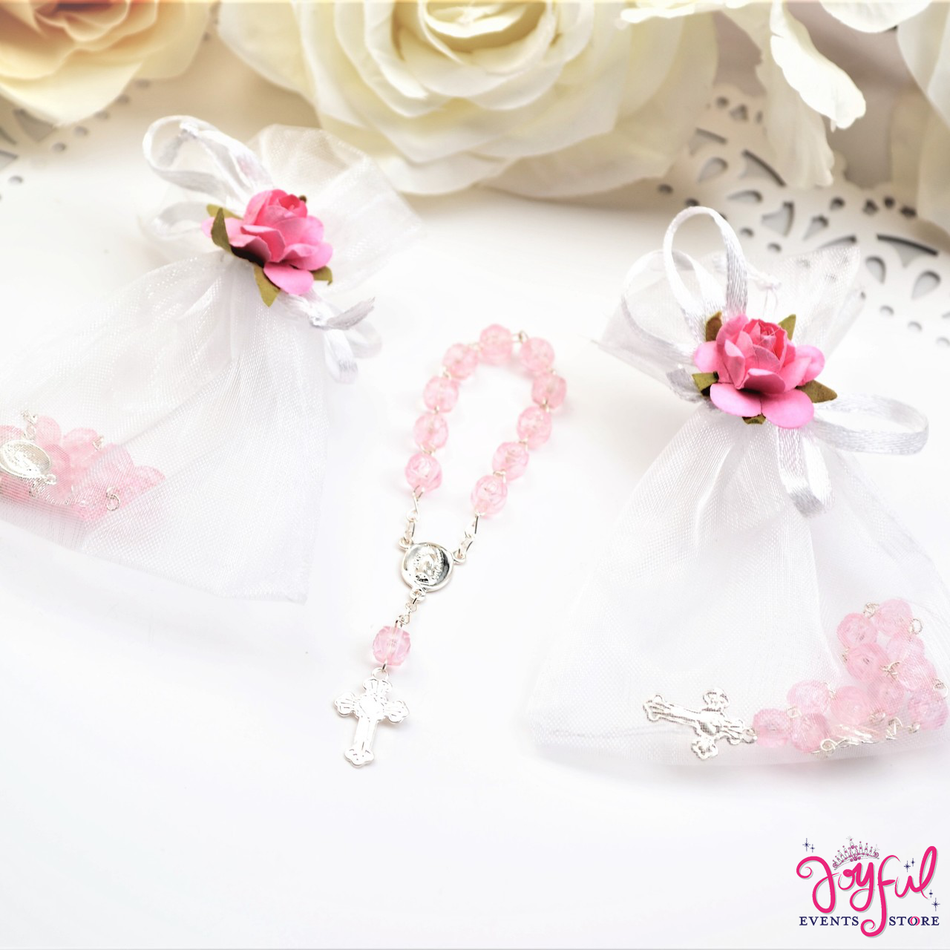 "4"" Mini Decade Finger Rosary Favors for Baptism / Quinceaneras / Weddings - One Dozen #PF1013PK"