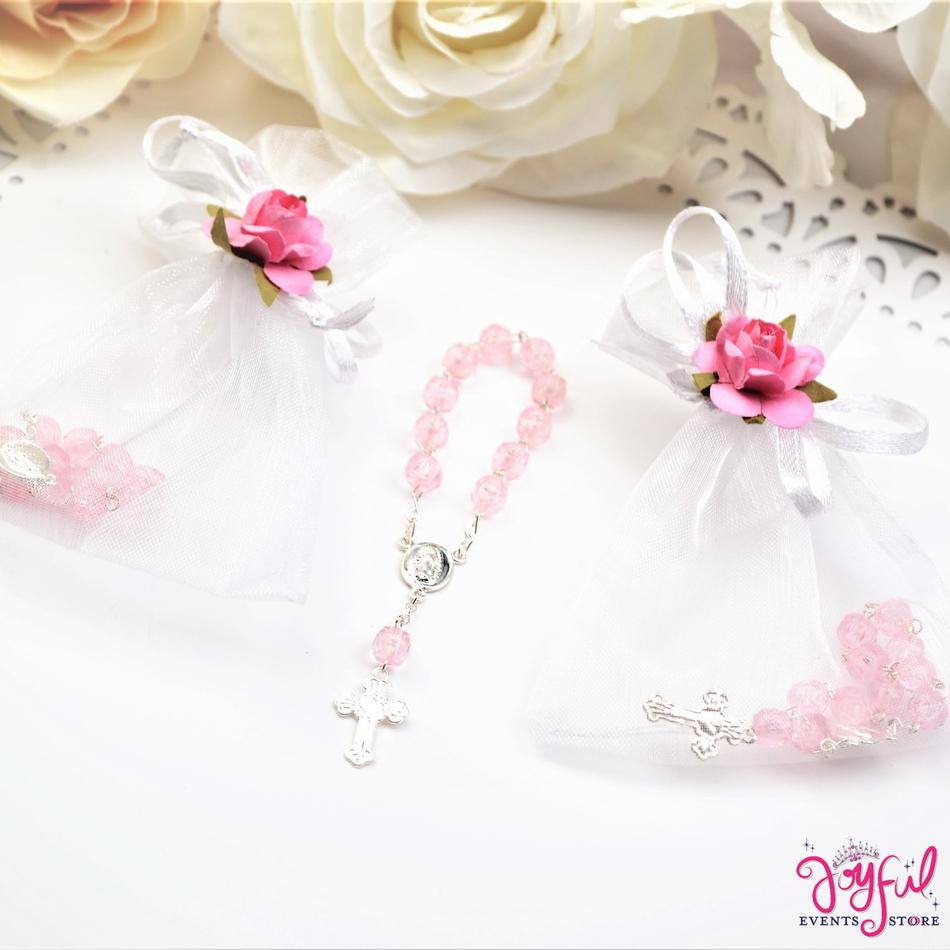 "4"" Mini Decade Finger Rosary Favors for Baptism / Quinceaneras / Weddings - One Dozen #PF1013PK"