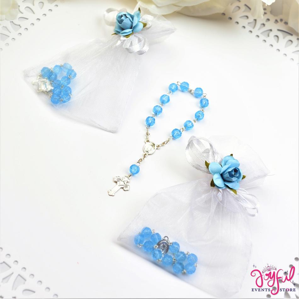 "4"" Blue Mini Decade Finger Rosary Favors for Baptism / Quinceaneras / Weddings - One Dozen #PF1013BL"