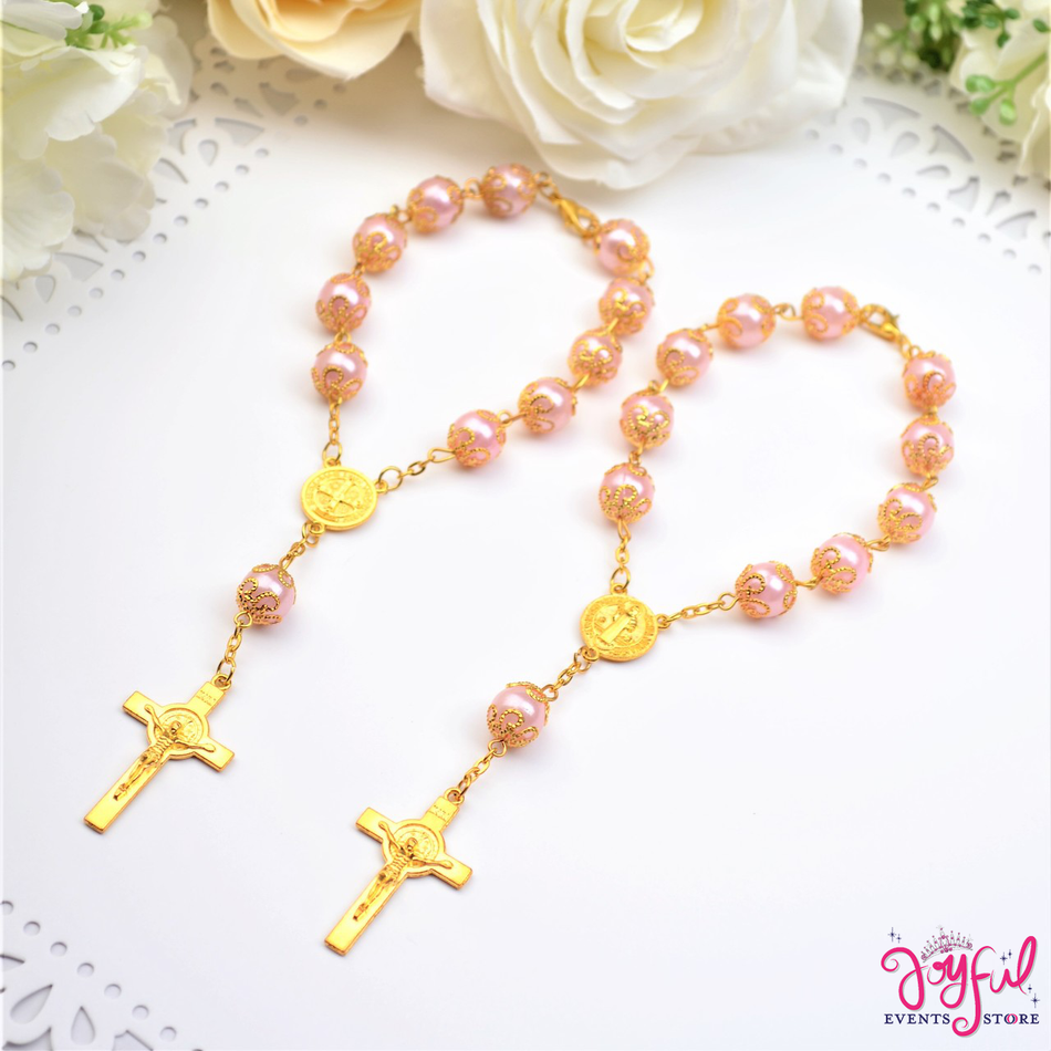 "6"" Pink Pearls Mini Bracelet Rosaries with Cross and St. Benedict Medal - One Dozen #PF1006PK"