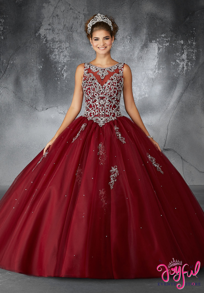 Quinceanera Dress Sangria Embroidery And Beading On A Tulle Ball Gown