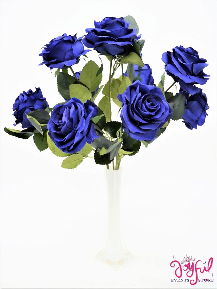 """17"""" Navy Blue Silk Rose Flower Bouquet Bunch with 10 Roses #FL51NBL"""