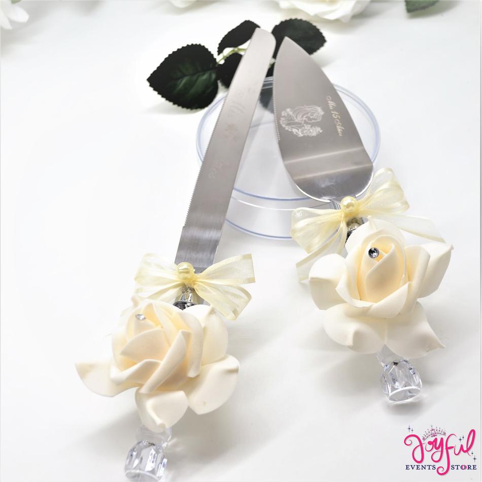 Quinceanera or Wedding Cake Server & Knife Set #CS14IV