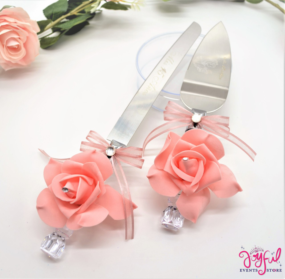 Quinceanera or Wedding Cake Server & Knife Set #CS14BLS