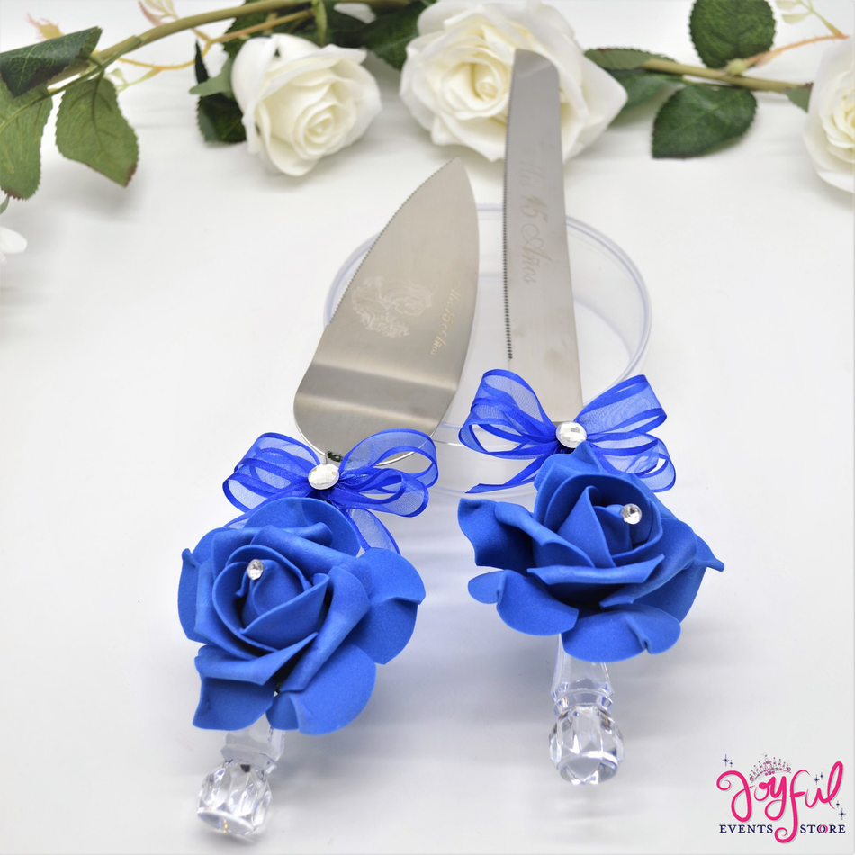 Royal Blue Decorated Toasting Glasses with Cake Server  & Knife Set #TGCS14RBL