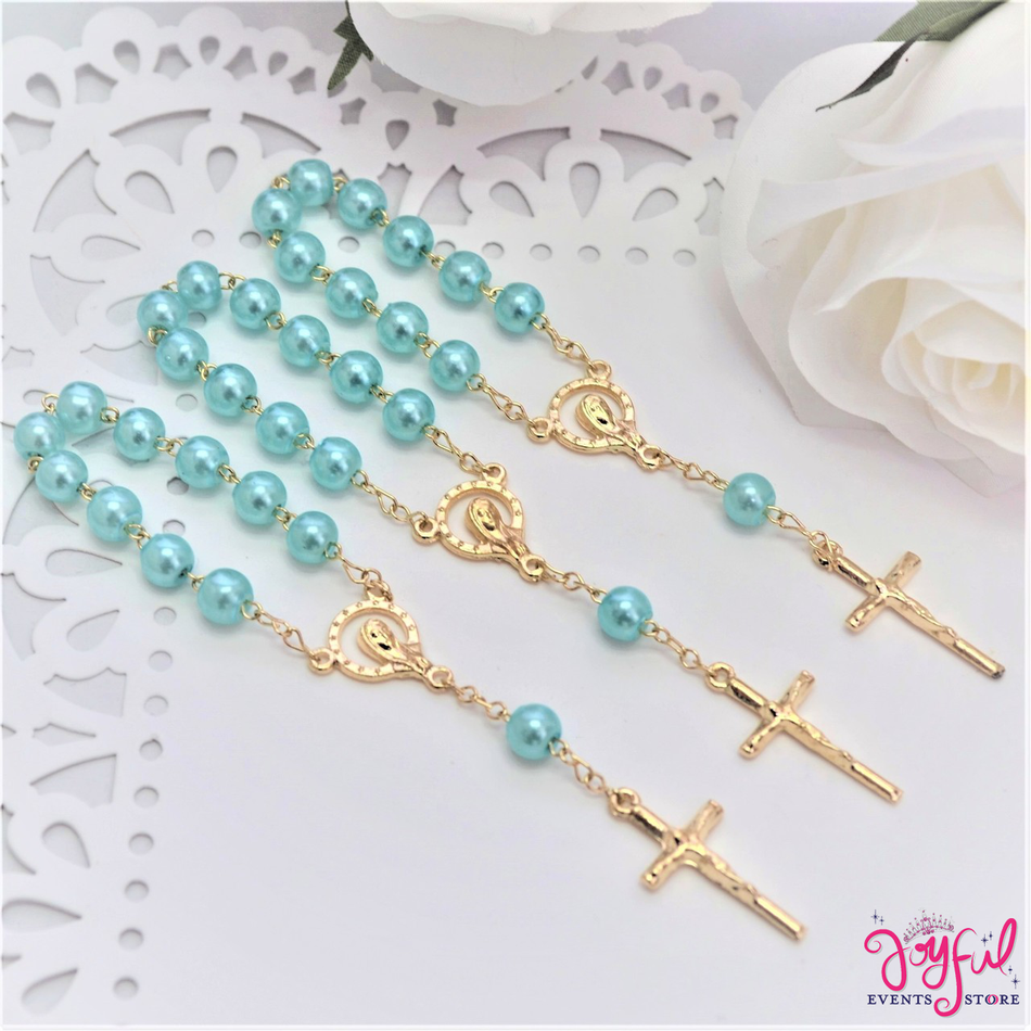 "4.5"" Blue Mini Decade Finger Rosary with Gold Plated Cross for Baptisms / Weddings / Quinceaneras / Communions - One Dozen #ROS3BLGD"