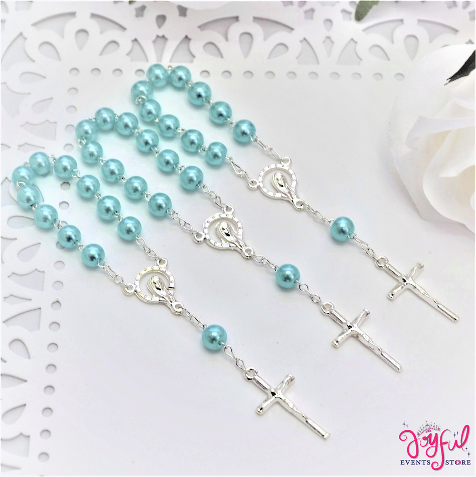 "4.5"" Blue Mini Decade Finger Rosary with Silver Plated Cross for Baptisms / Weddings / Quinceaneras / Communions - One Dozen #ROS3BLSV"