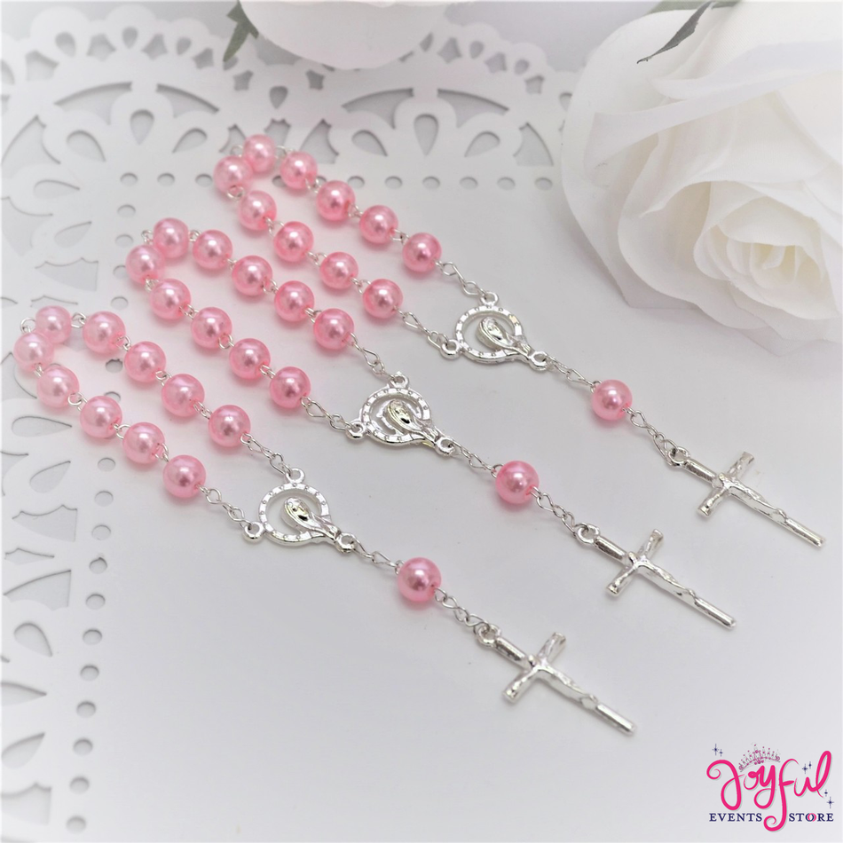 "4.5"" Pink Mini Decade Finger Rosary with Silver Plated Cross for Baptisms / Weddings / Quinceaneras / Communions - One Dozen #ROS3PKSV"