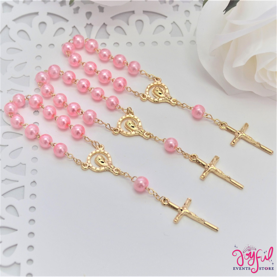 "4.5"" Pink Mini Decade Finger Rosary with Gold Plated Cross for Baptisms / Weddings / Quinceaneras / Communions - One Dozen #ROS3PKGD"