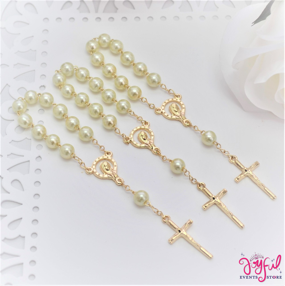 """4.5"""" Ivory Mini Decade Finger Rosary with Gold Plated Cross for Baptisms / Weddings / Quinceaneras / Communions - One Dozen #ROS3IVGD"""