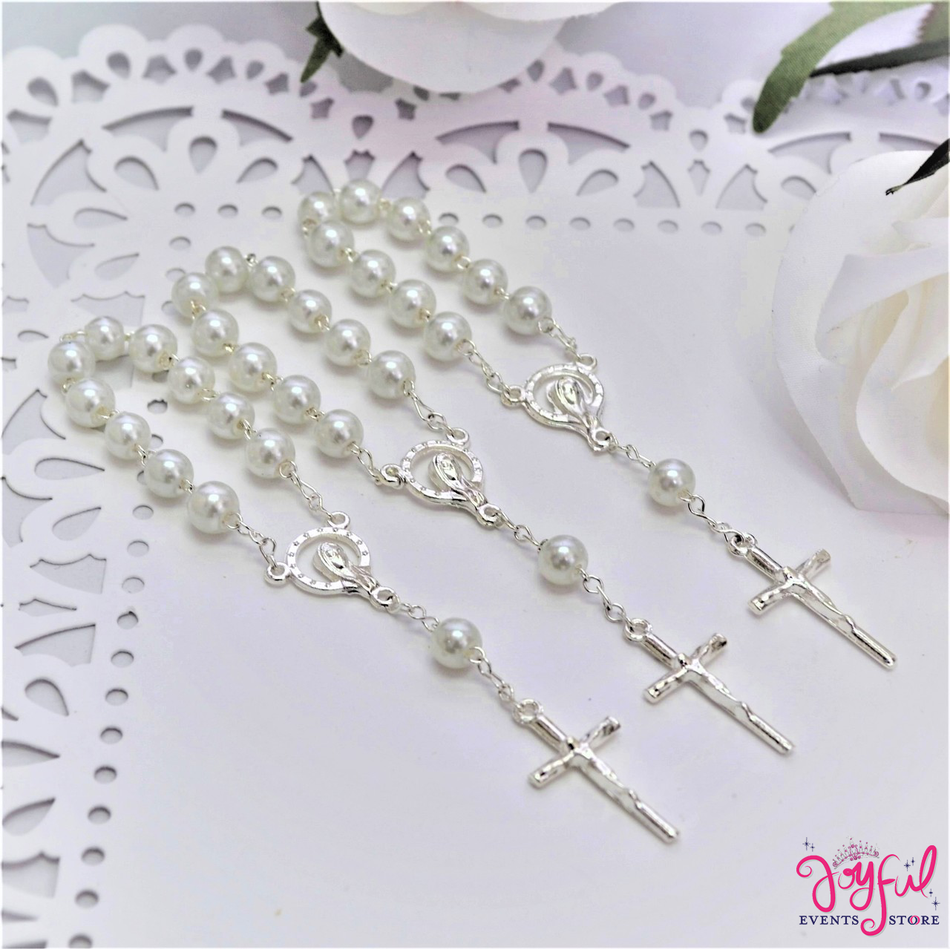 "4.5"" White Mini Decade Finger Rosary with Silver Plated Cross for Baptisms / Weddings / Quinceaneras / Communions - One Dozen #ROS3WHSV"