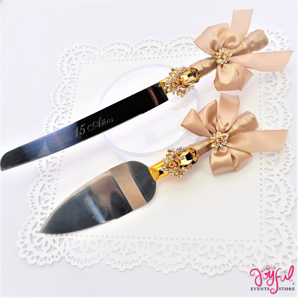 Quinceanera or Wedding Cake Server & Knife Set #CS15CH