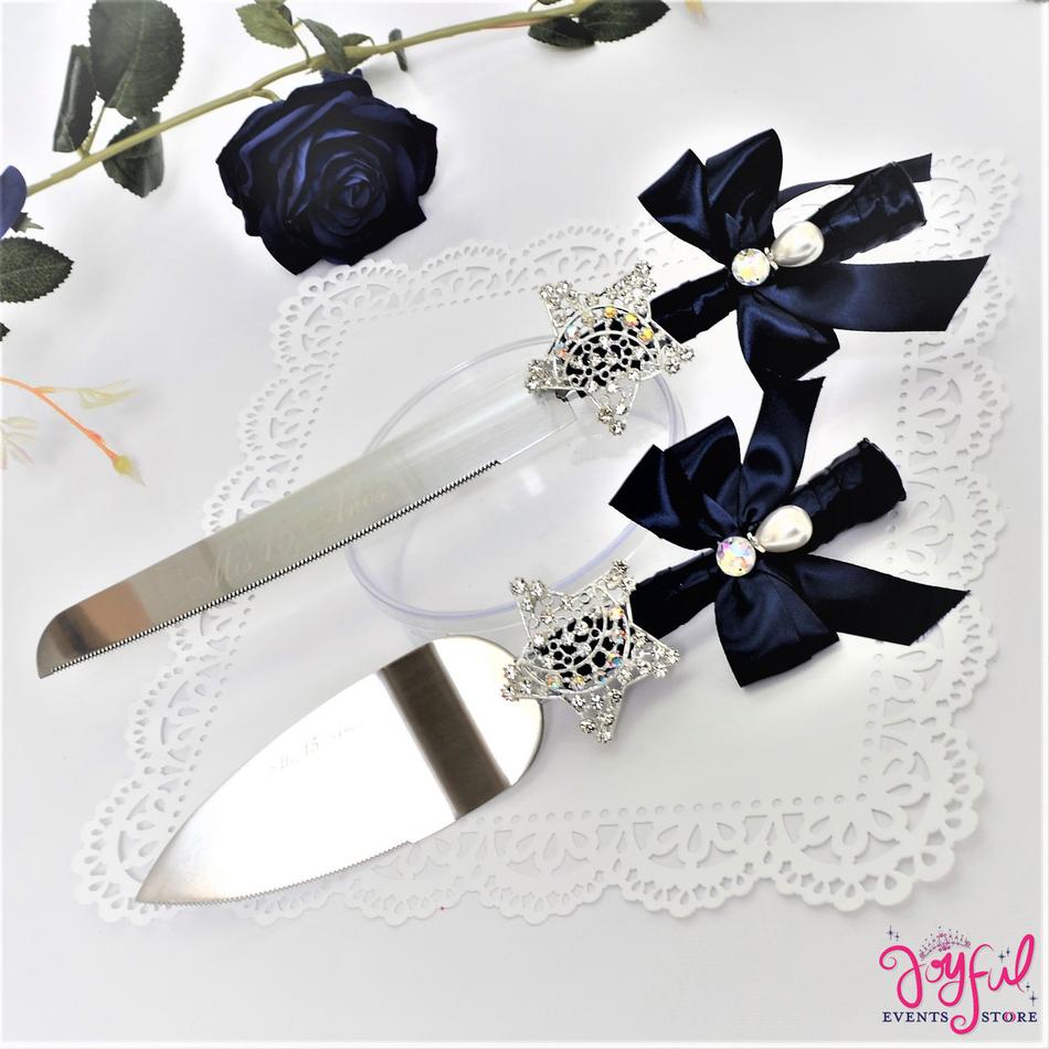 Quinceanera or Wedding Cake Server & Knife Set with Star Rhinestone Brooch - #CS16NV