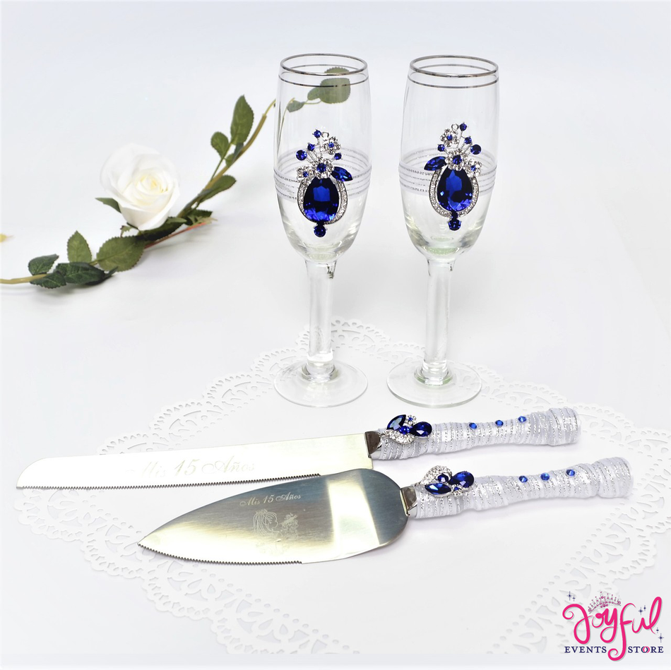 Decorated Toasting Glasses with Cake Server  & Knife Set #TGCS18