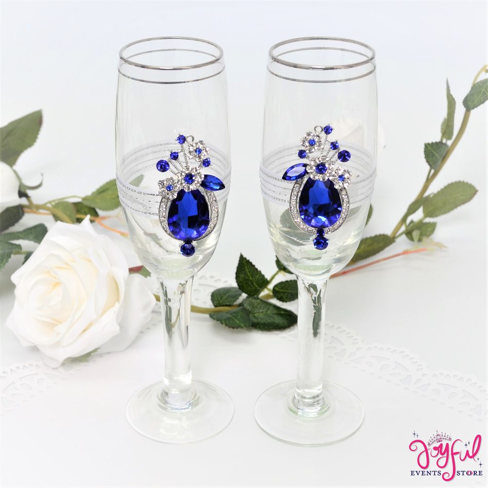Emerald Blue Decorated Toasting Glasses - TG18BL