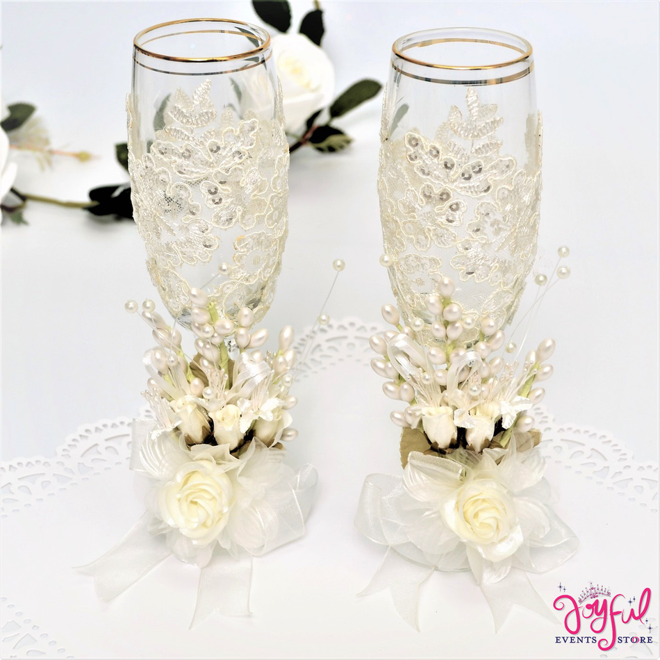 Vintage Toasting Glasses for Wedding or Quinceanera #TG21
