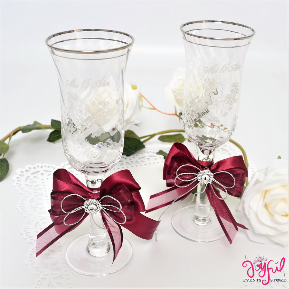 "8"" Decorated Toasting Glasses #TG19"