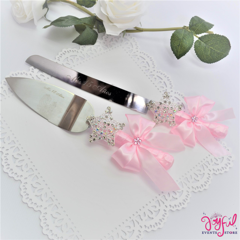 Quinceanera or Wedding Cake Server & Knife Set with moon and stars -  #CS27