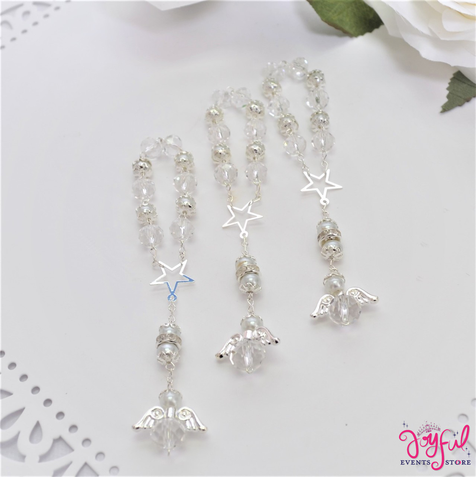 """5"""" White Pearls Rosary with Mini Star and Angel for Baptisms, Weddings, Quinceaneras, Communions -  #ROS5WHSV"""