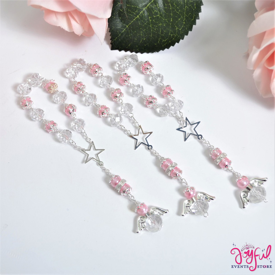 """5"""" Pink Pearls and Crystals Rosary with Mini Star and Angel for Baptisms, Weddings, Quinceaneras, Communions - One Dozen #ROS5PKSV"""