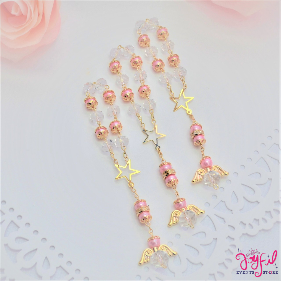 """5"""" Pink Pearls and Crystals Rosary with Mini Star and Angel for Baptisms, Weddings, Quinceaneras, Communions - One Dozen #ROS5PKGD"""