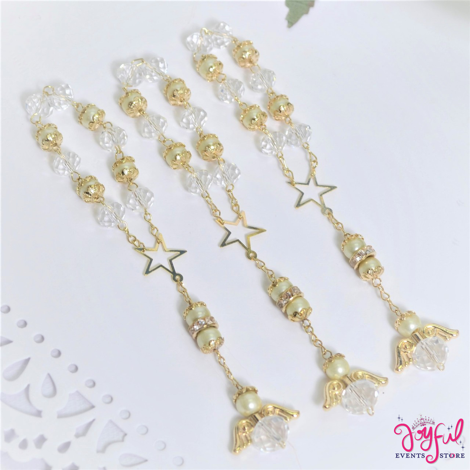 "5"" Ivory Pearls and Crystals Rosary with Mini Star and Angel for Baptisms, Weddings, Quinceaneras, Communions - One Dozen #ROS5IVGD"