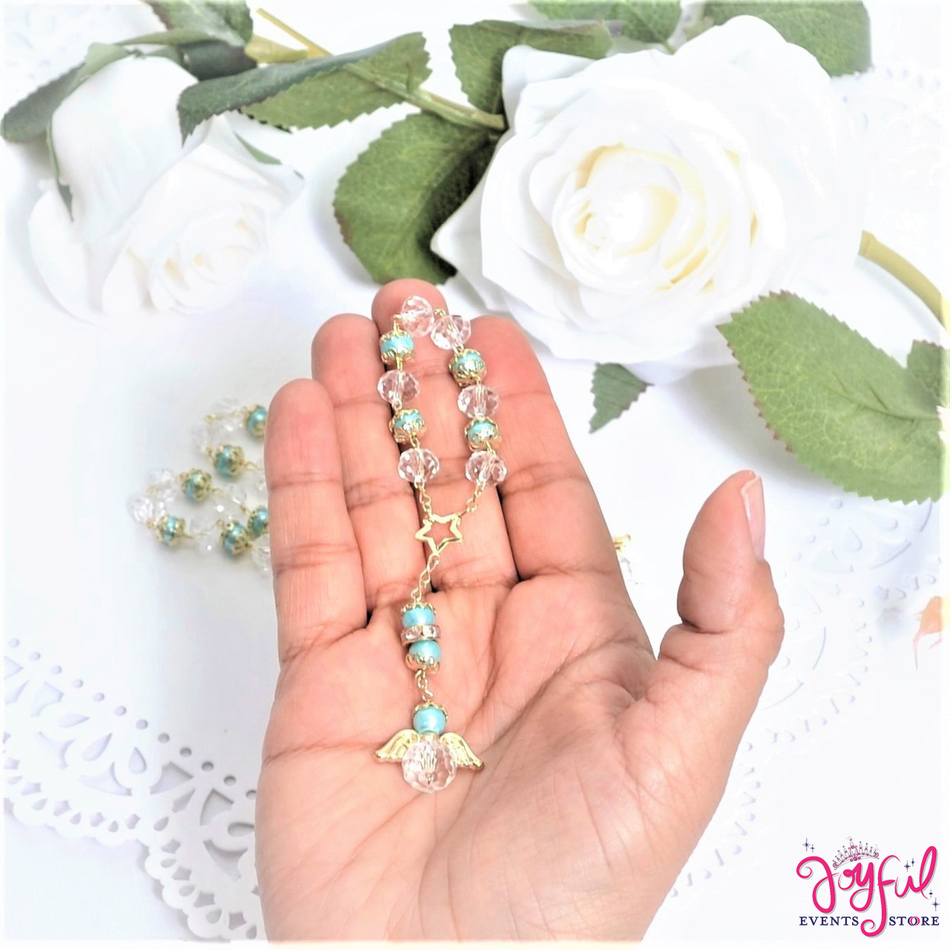 """5"""" Blue Pearls and Crystals Rosary with Mini Star and Angel for Baptisms, Weddings, Quinceaneras, Communions - One Dozen #ROS5BLGD"""