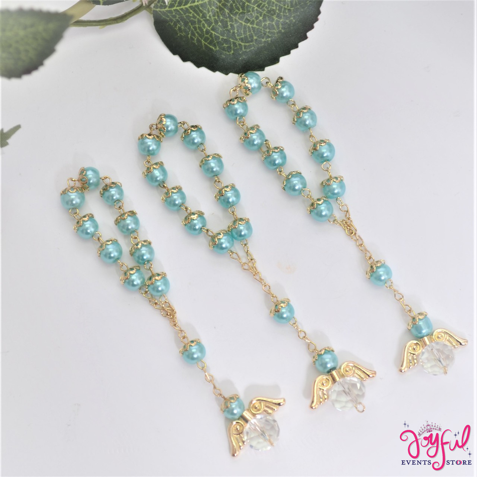 """5"""" Blue Pearls Rosary with Angel for Baptisms, Weddings, Quinceaneras, Communions - One Dozen #ROS6BLGD"""