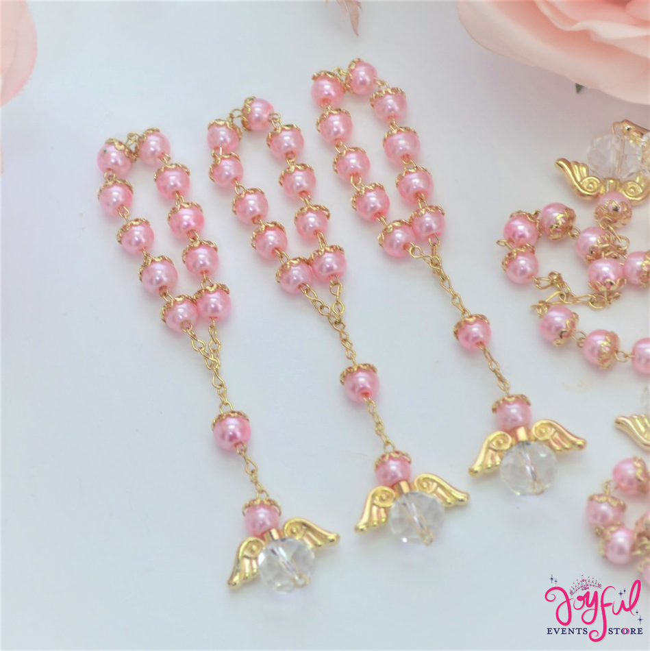 """5"""" Pink Pearls Rosary with Angel for Baptisms, Weddings, Quinceaneras, Communions - One Dozen #ROS6PKGD"""