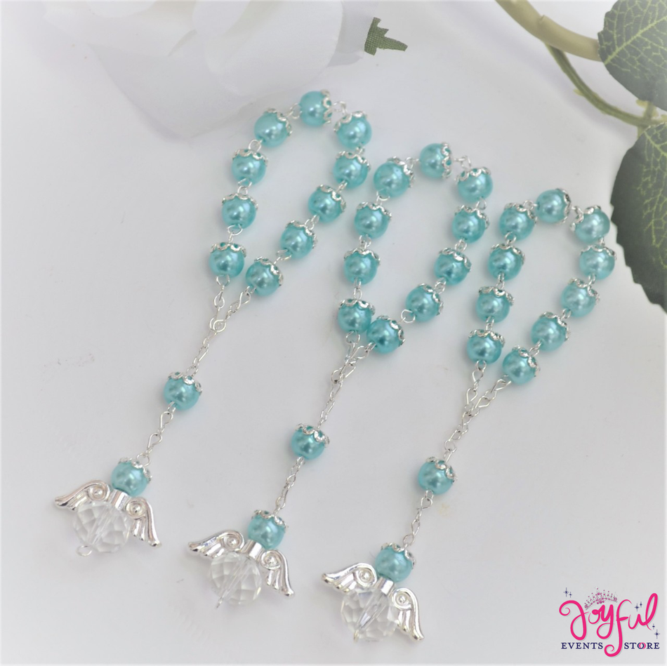"5"" Blue Pearls Rosary with Angel for Baptisms, Weddings, Quinceaneras, Communions - One Dozen #ROS6BLSV"