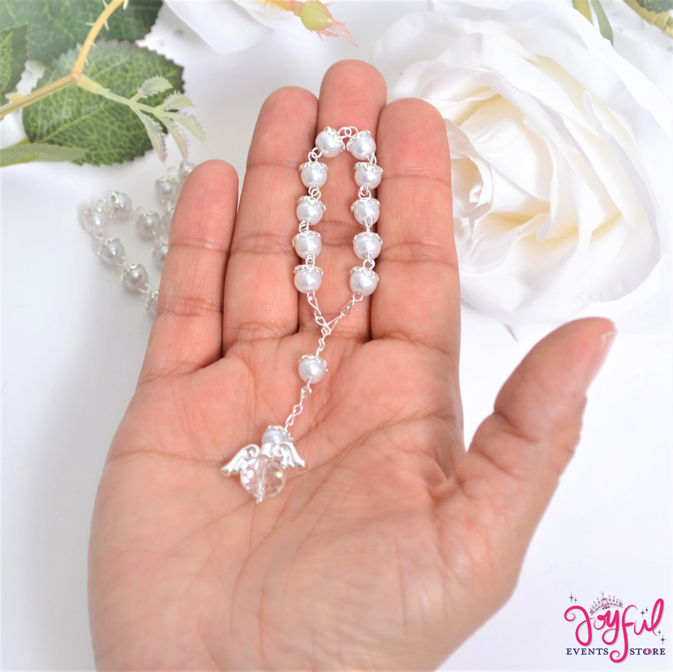 """5"""" White Pearls Rosary with Angel for Baptisms, Weddings, Quinceaneras, Communions - One Dozen #ROS6WHSV"""