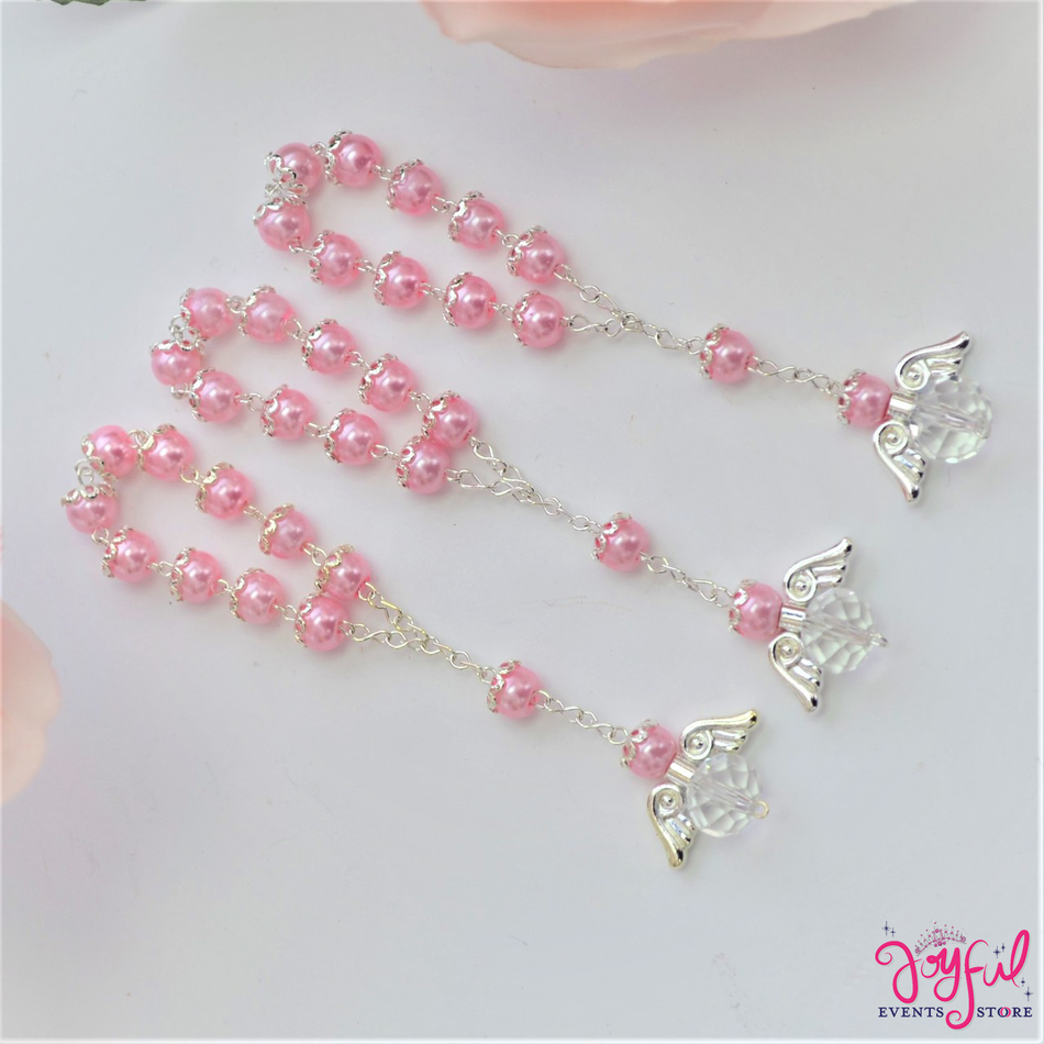 "5"" Pink Pearls Rosary with Angel for Baptisms, Weddings, Quinceaneras, Communions - One Dozen #ROS6PKSV"