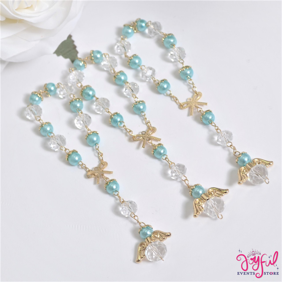 "5"" Blue Pearls and Crystals Rosary with Mini Bow and Angel for Baptisms, Weddings, Quinceaneras, Communions - One Dozen #ROS7BLGD"