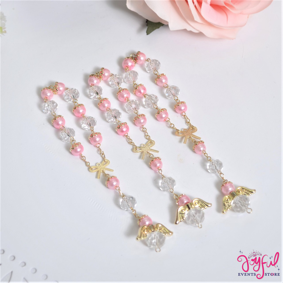 """5"""" Pink Pearls and Crystals Rosary with Mini Bow and Angel for Baptisms, Weddings, Quinceaneras, Communions - One Dozen #ROS7PKGD"""