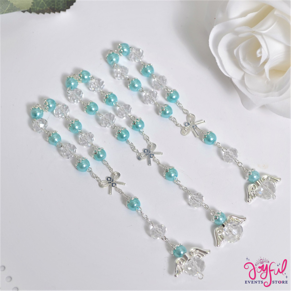 """5"""" Blue Pearls and Crystals Rosary with Mini Bow and Angel for Baptisms, Weddings, Quinceaneras, Communions - One Dozen #ROS7BLSV"""