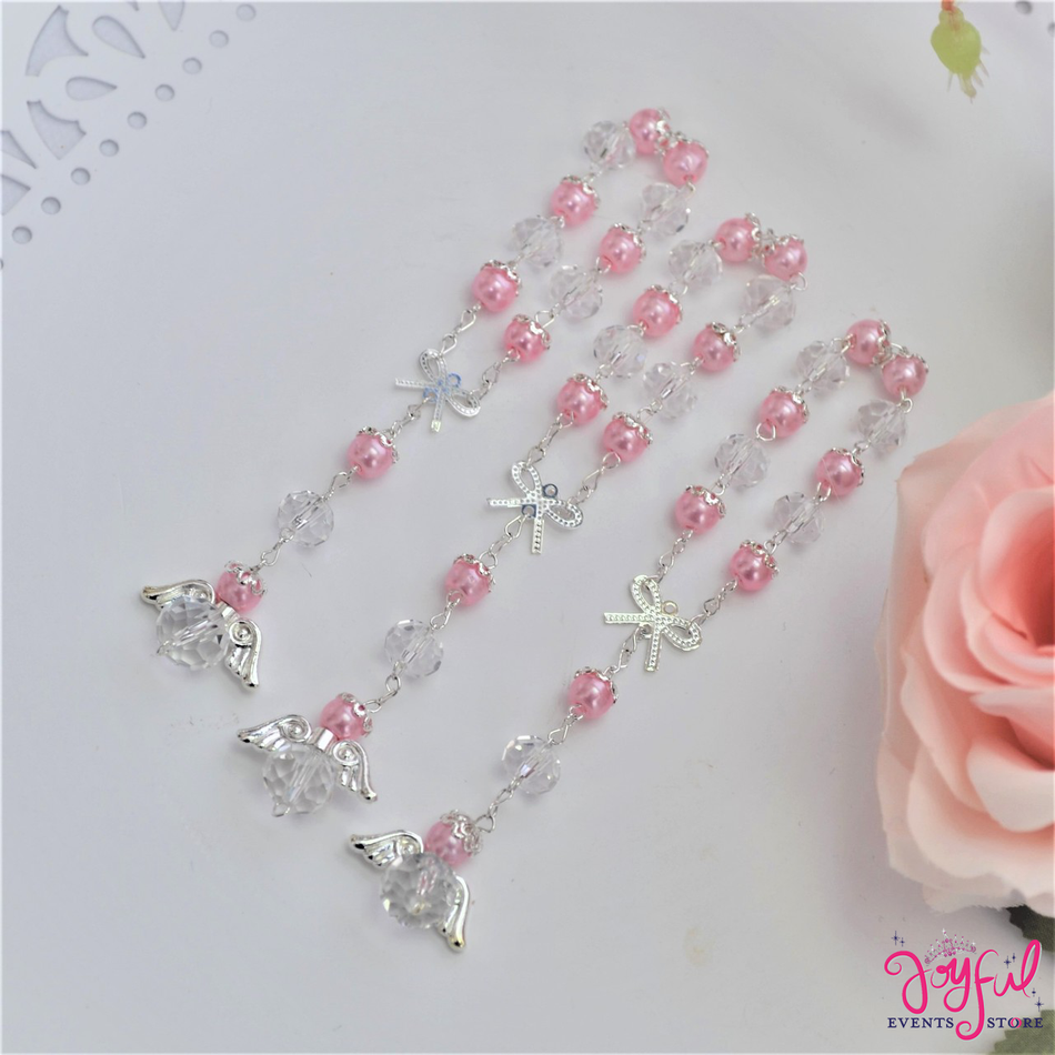 "5"" Pink Pearls and Crystals Rosary with Mini Bow and Angel for Baptisms, Weddings, Quinceaneras, Communions - One Dozen #ROS7PKSV"