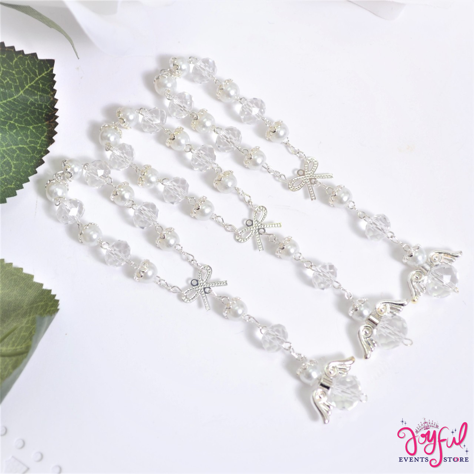 "5"" White Pearls and Crystals Rosary with Mini Bow and Angel for Baptisms, Weddings, Quinceaneras, Communions - One Dozen #ROS7WHSV"