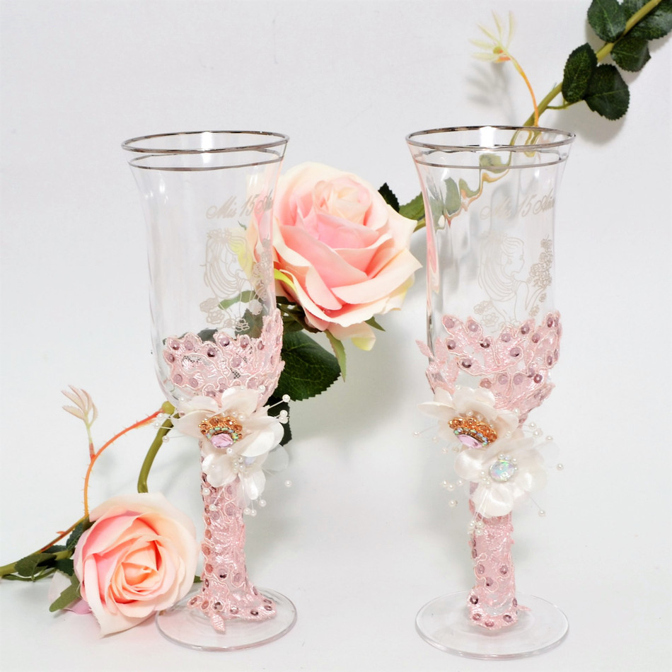Vintage Toasting Glasses for Wedding or Quinceanera #TG31