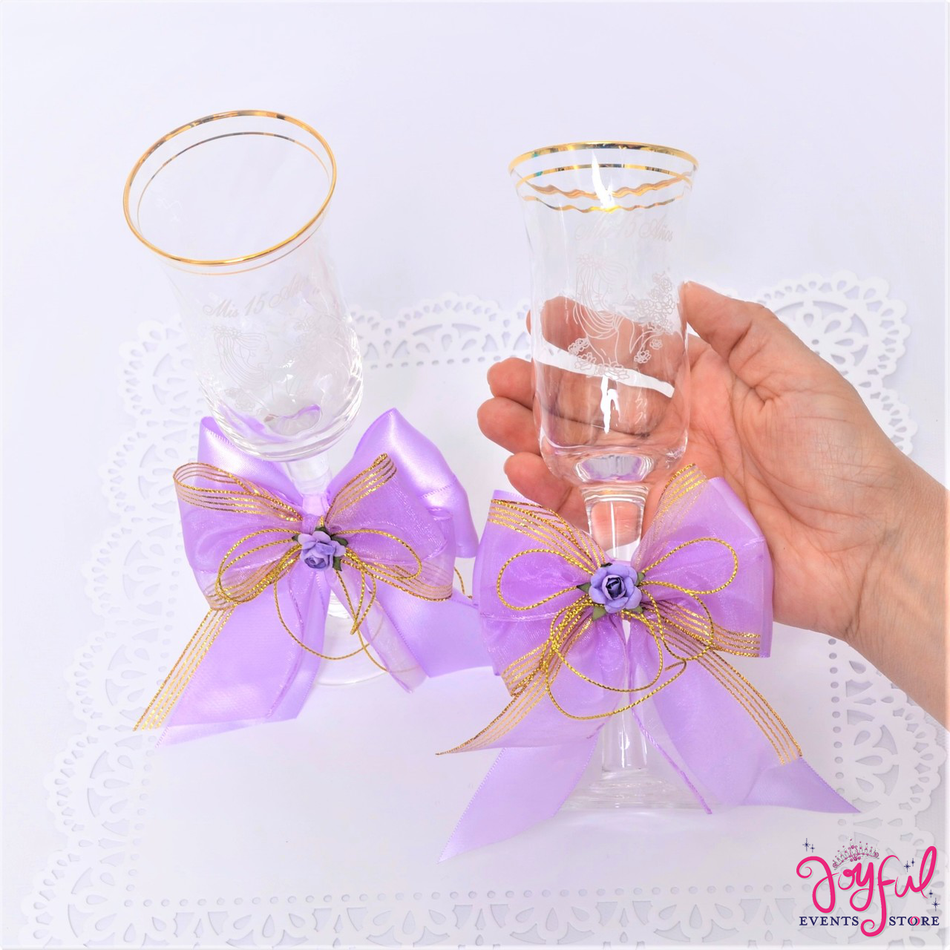 Quinceanera Decorated Toasting Glasses #TG20LL