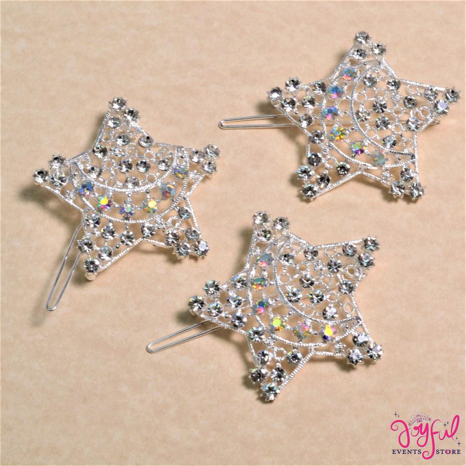 """2"""" Silver Star and Moon Rhinestone Brooch - One #BR123"""
